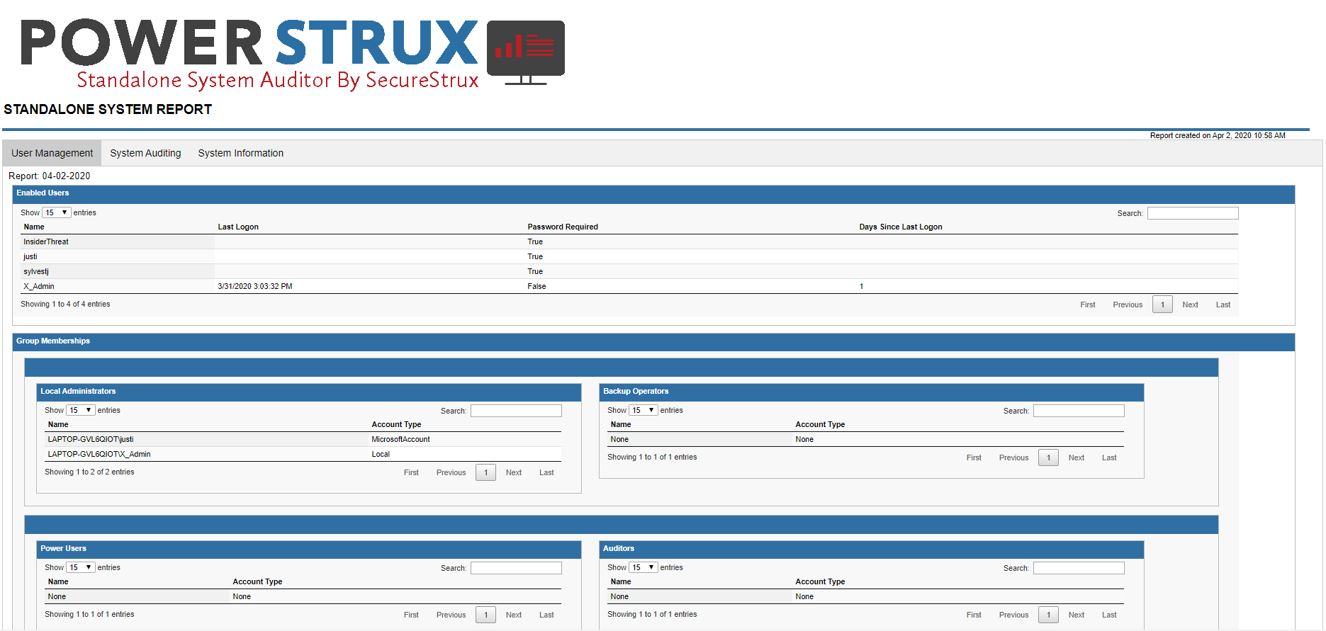 PowerStrux | User Management